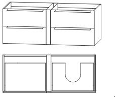 Waschtischunterschrank für Einzelwaschtisch-Lösung, Ablage links, 126 cm