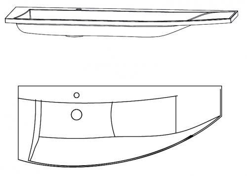 Mineralguss Waschtisch mit Ablage rechts, 140 cm