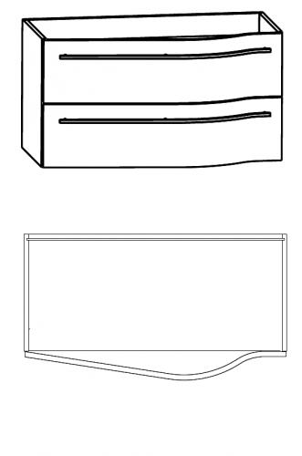 Waschtischunterschrank für Ablage links, 90 cm